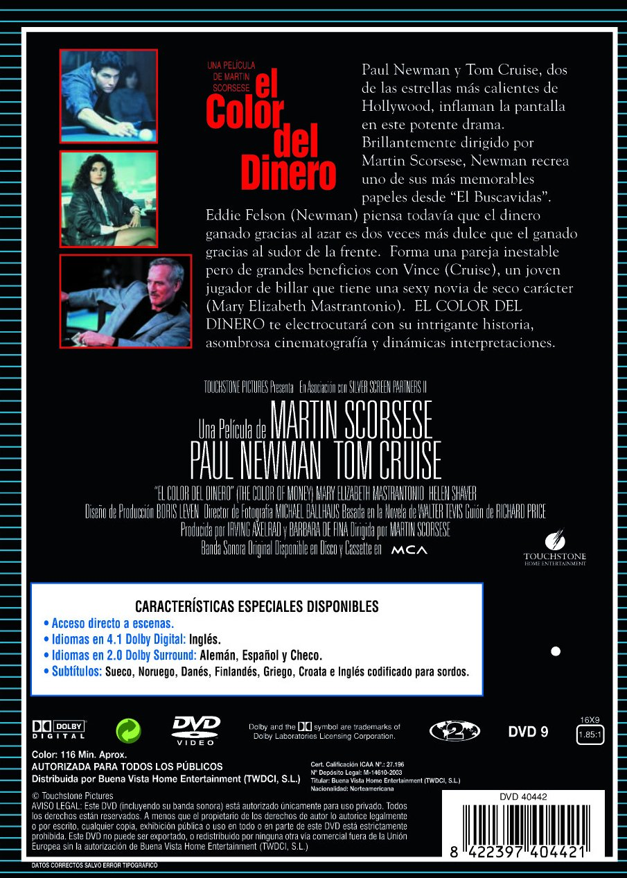 El Color Del Dinero [DVD]: Amazon.es: Paul Newman, Helen Shaver ...