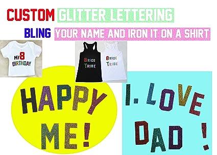 Iron ON Personalised Name TextAssorted Color Glitter HOTFIX Transfer Tshirt BirthdayBirthday