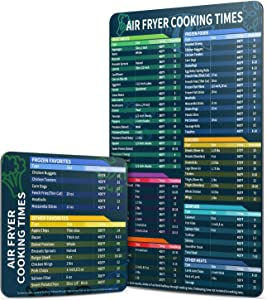 Air Fryer Magnetic Cheat Sheet Set, Air Fryer Accessories Cook Times Chart Magnet Sheet Quick Reference Guide for Cooking and Frying, Easy to Use