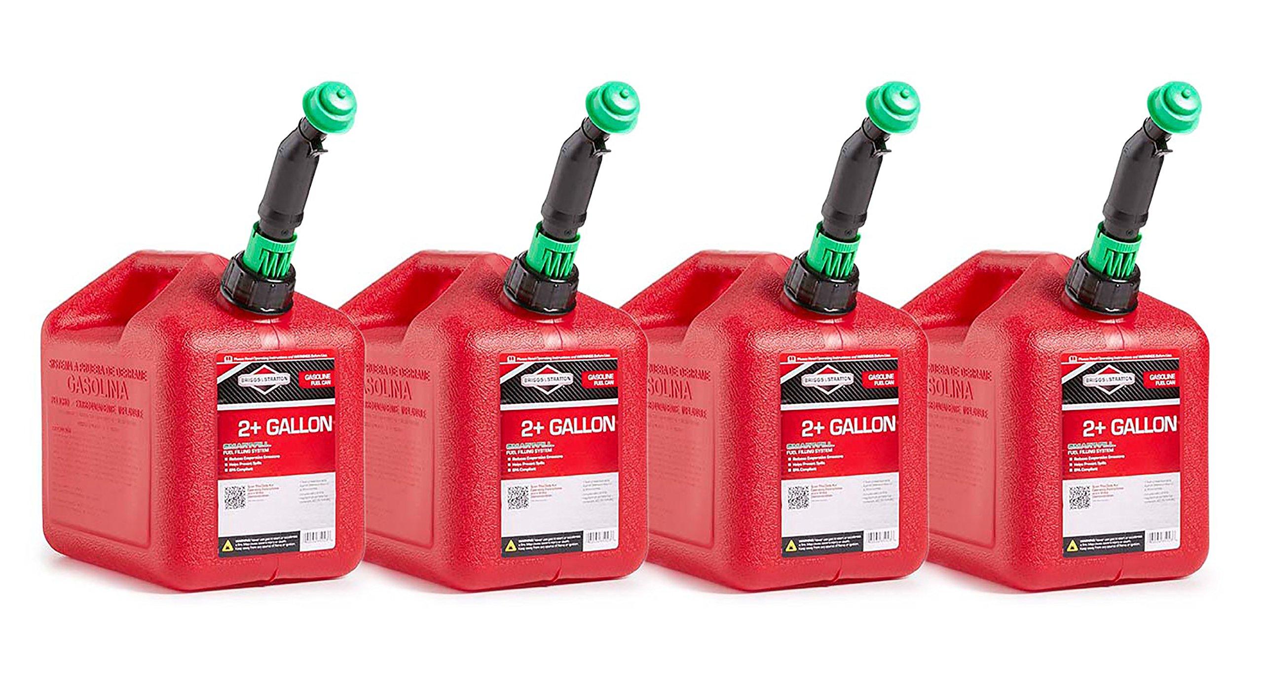 Briggs & Stratton 86023 Smart-Fill 2+ Gallon Gas Cans (4 Pack)