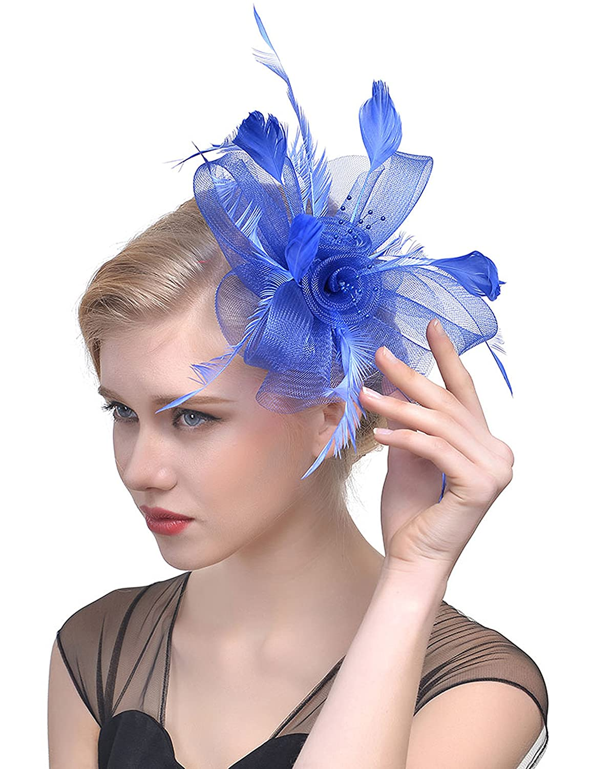 Aifer Womens Fascinators Hats for Wedding Tea Party Feather Flower Headband  Headwear with Mesh Nets Beads 9440d2da264