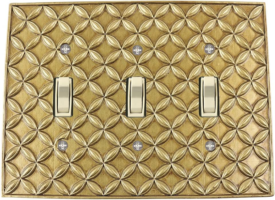 Meriville Colfax 3 Toggle Wallplate, Triple Switch Electrical Cover Plate, Antique Gold