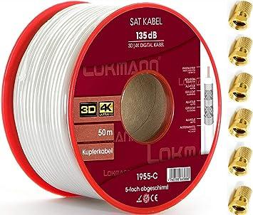LOKMANN - Cable coaxial para Antena (50 m, 135 dB, apantallamiento quíntuple, Full HD, UHD, 4K, 8K + Calentadores): Amazon.es: Electrónica