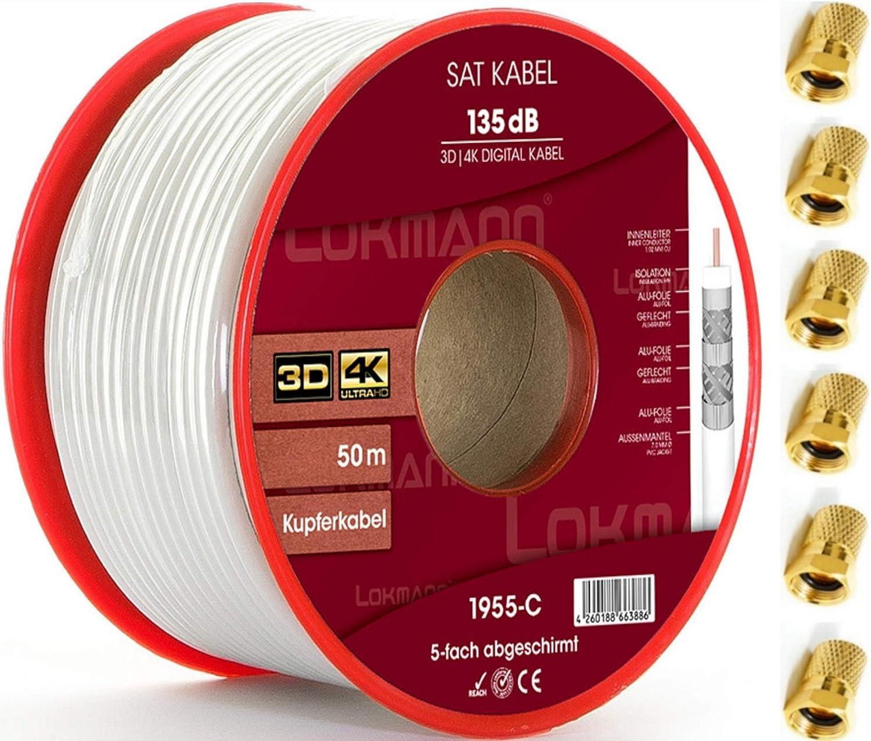 LOKMANN Cable coaxial de cobre puro, 50 m, 135 dB, apantallado de 5 capas, cable coaxial para antena de TV, Full HD, UHD, 4K, 8K + 10 conectores F