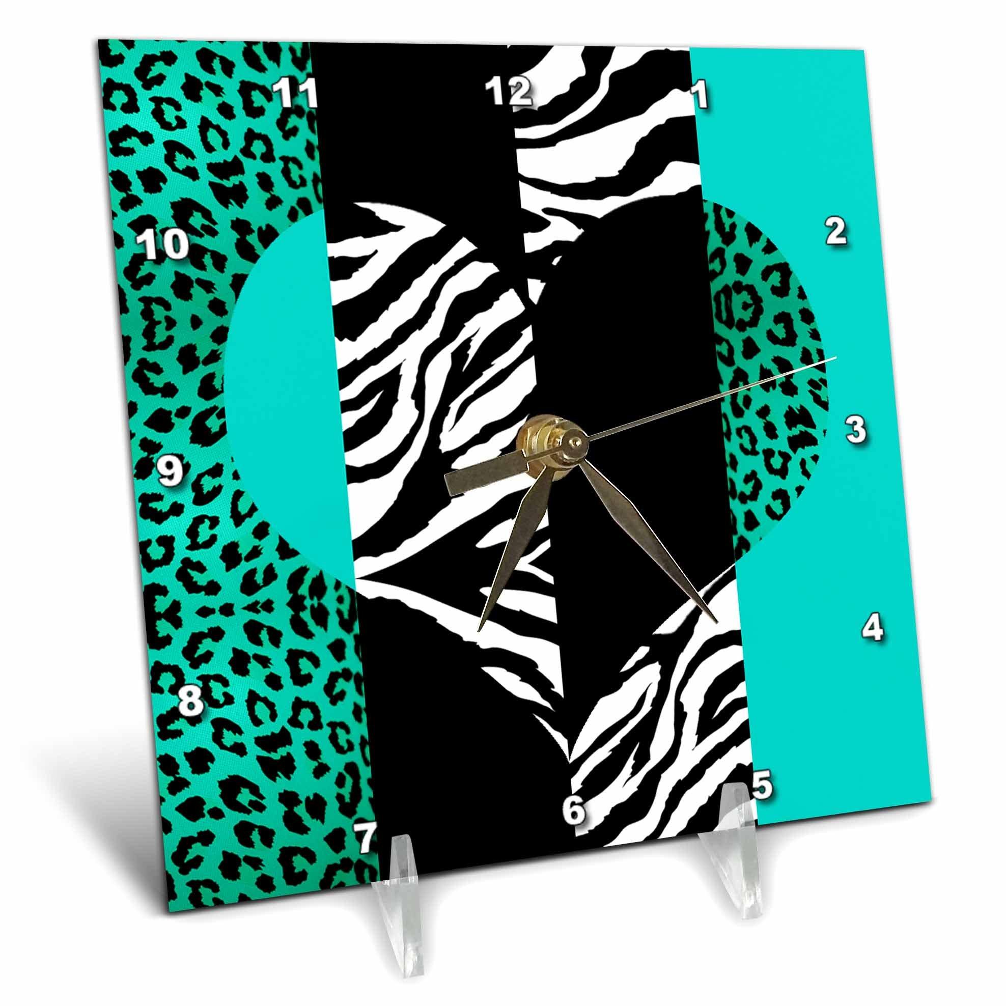 3dRose dc_35445_1 Aqua Blue Black and White Animal Print Leopard and Zebra Heart Desk Clock, 6 by 6-Inch