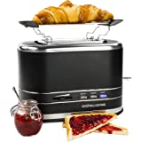Andrew James Lumiglo Toaster Two Slice With Warming Rack Matt Black