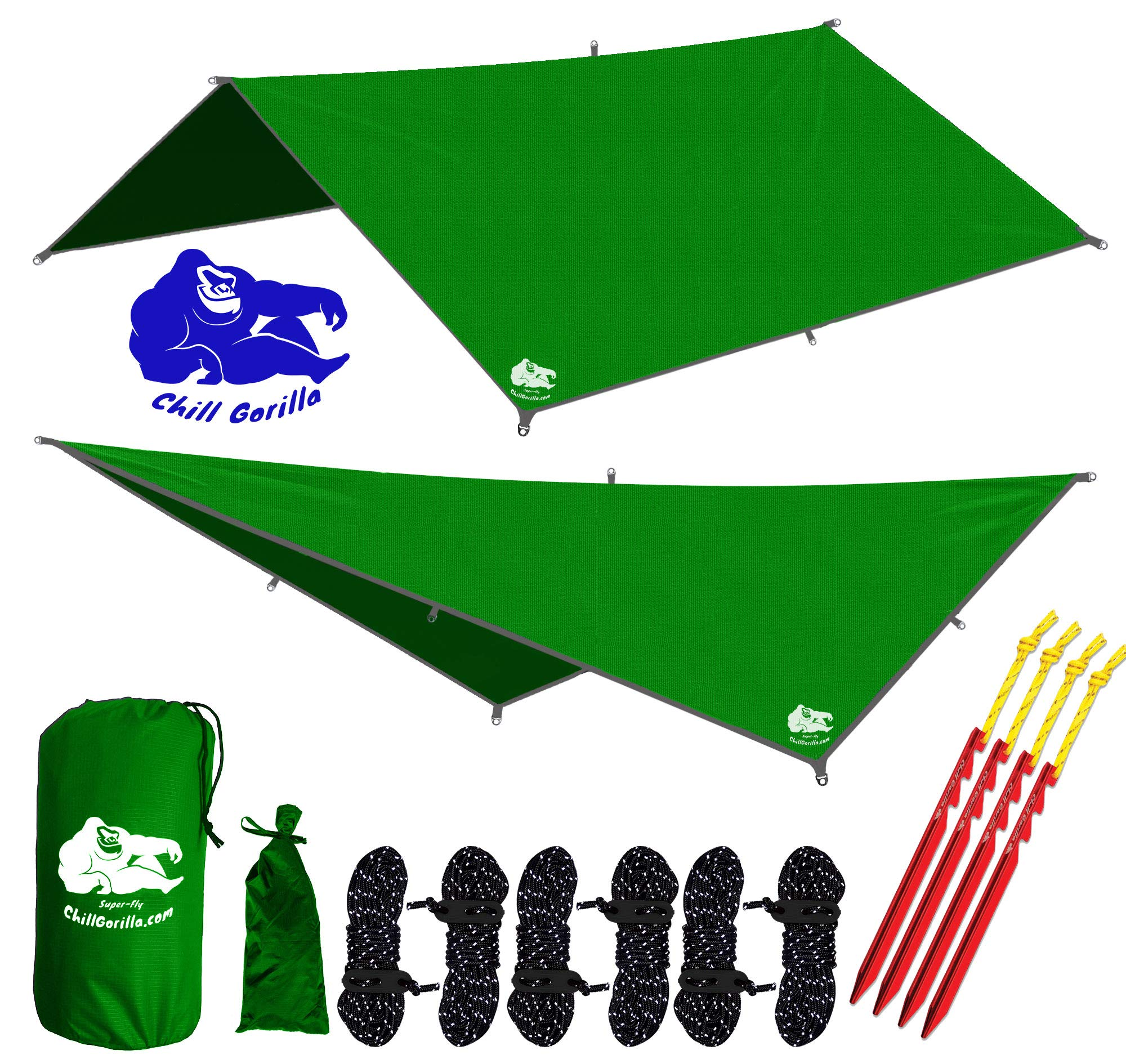 Chill Gorilla 10x10 Hammock Rain Fly Camping Tarp. Ripstop Nylon. 170'' Centerline. Stakes, Ropes & Tensioners Included. Camping Gear & Accessories. Perfect Hammock Tent. Green by Chill Gorilla