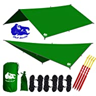 """Chill Gorilla 10x10 Hammock Waterproof Rain Fly Tent Tarp 170"""" Centerline. Ripstop Nylon & Not Polyester Cover. Stakes Included. Survival Gear Backpacking Camping Accessories. Multiple Colors"""