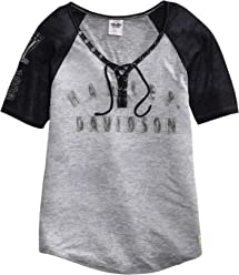 Harley-Davidson Official Womens Eagle Raglan Sleeve Top, Black