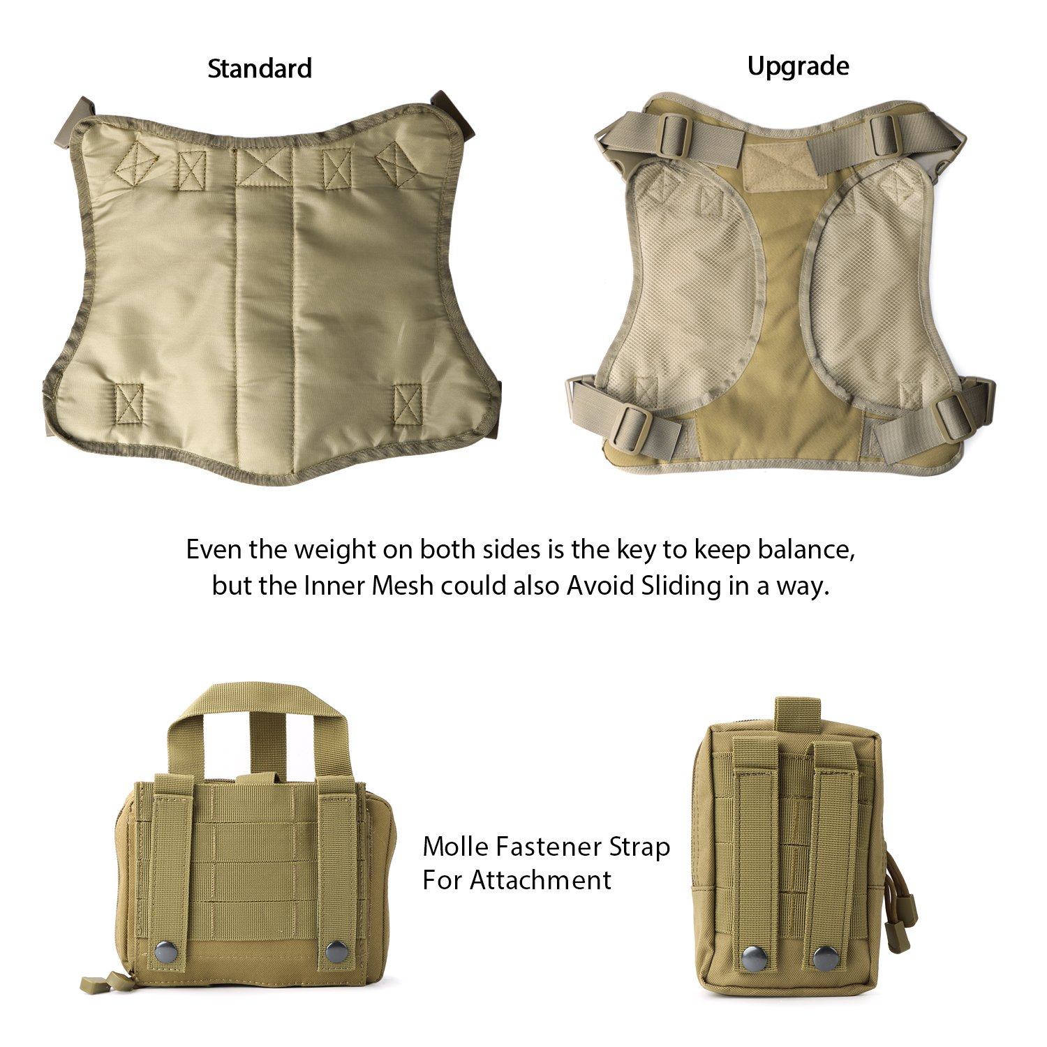 JASGOOD Tactical Dog Vest Military Harness With Detachable Molle Pouches/Patches Outdoor Training Handle Service Dog Vest by JASGOOD (Image #3)