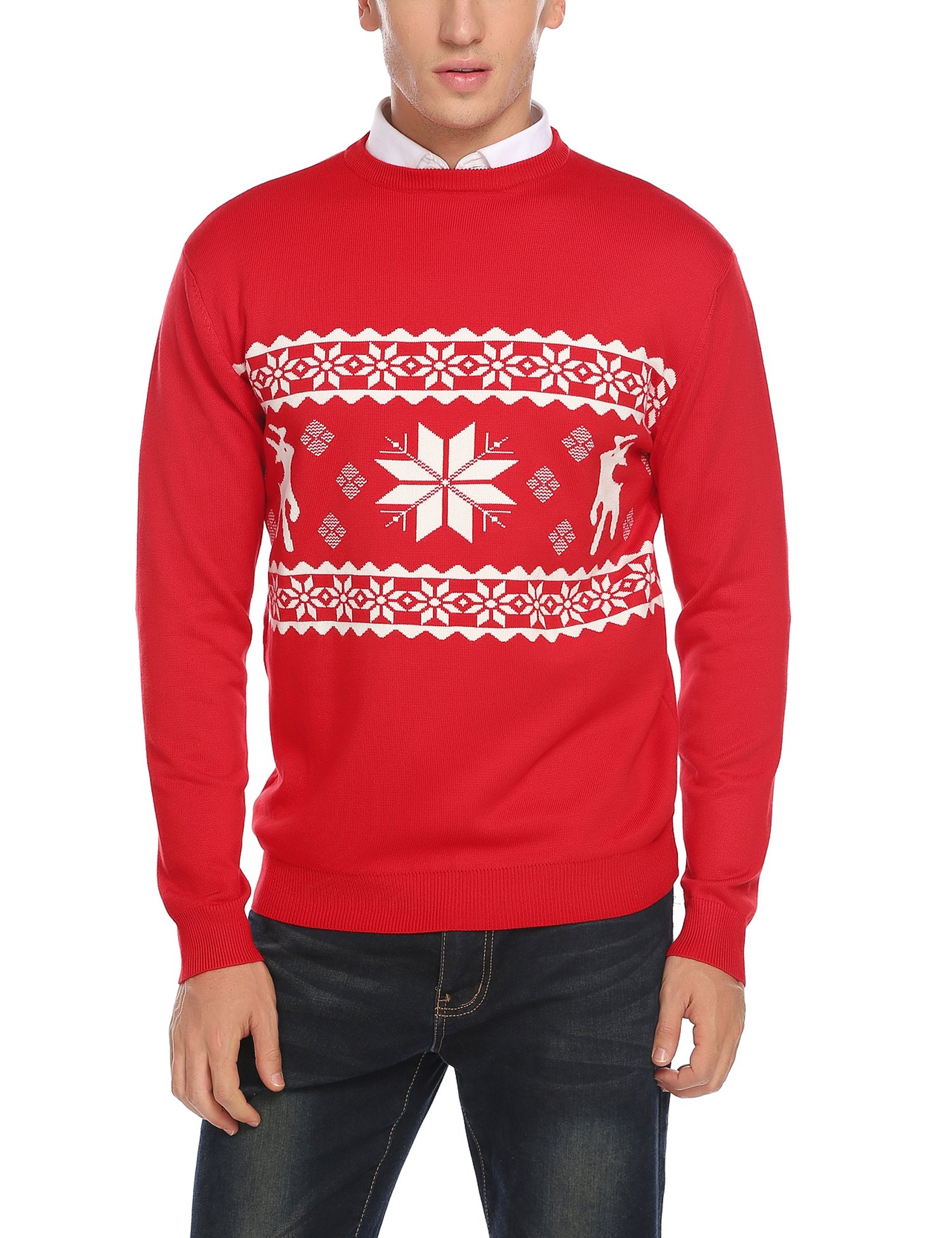 COOFANDY Men's Ugly Sweater Crewneck Holiday Festive Pullover
