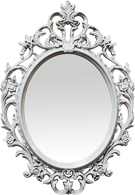 Baroque Mirror By Nuwgo Small 15 5 Plastic Oval Ornate Frame Gray Shabby Chic Amazon Ca Home Kitchen