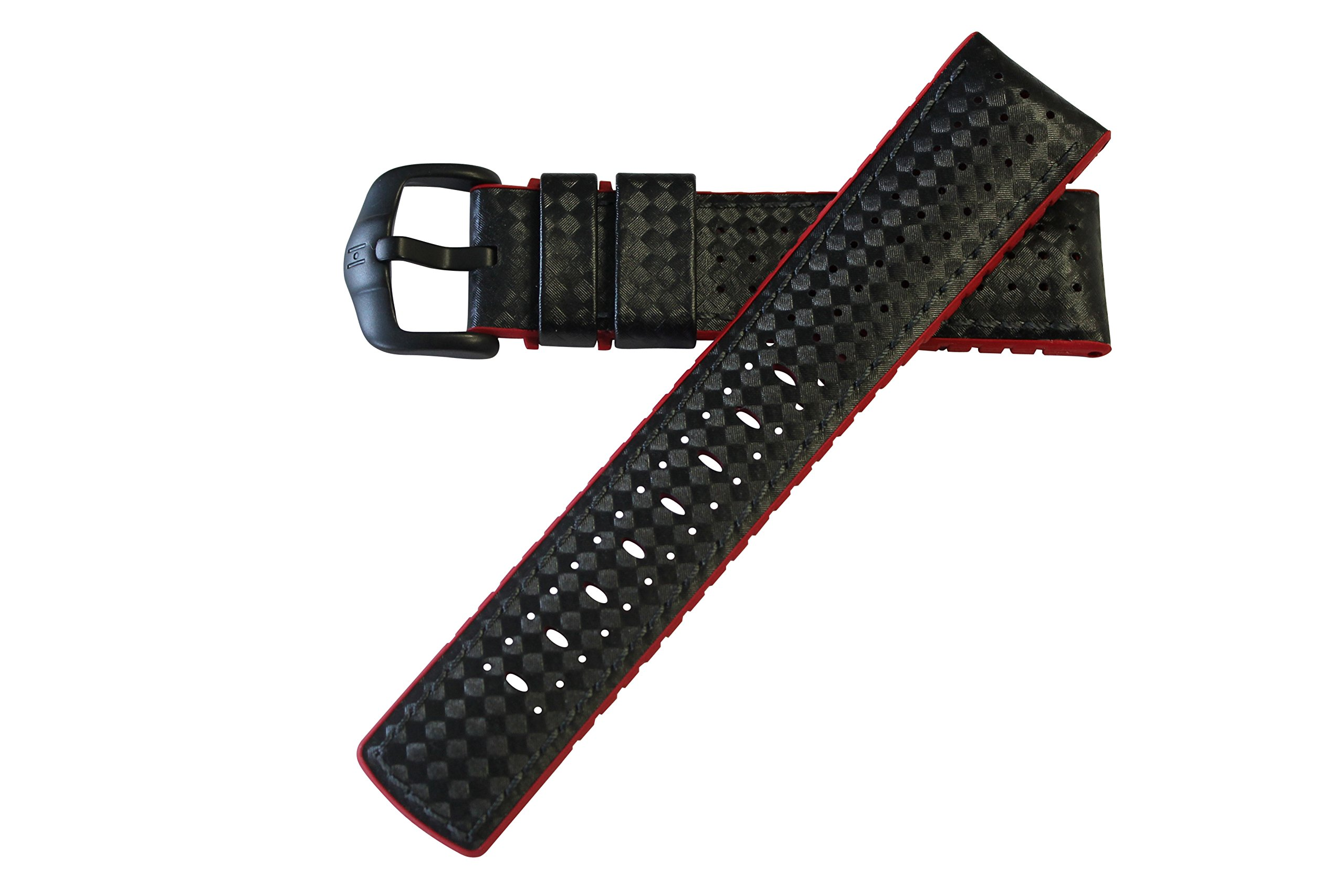 Hirsch Performance ARYTON Carbon Fiber Leather Sport Watch Strap Rubber Lining Black w/Red Lining 20mm