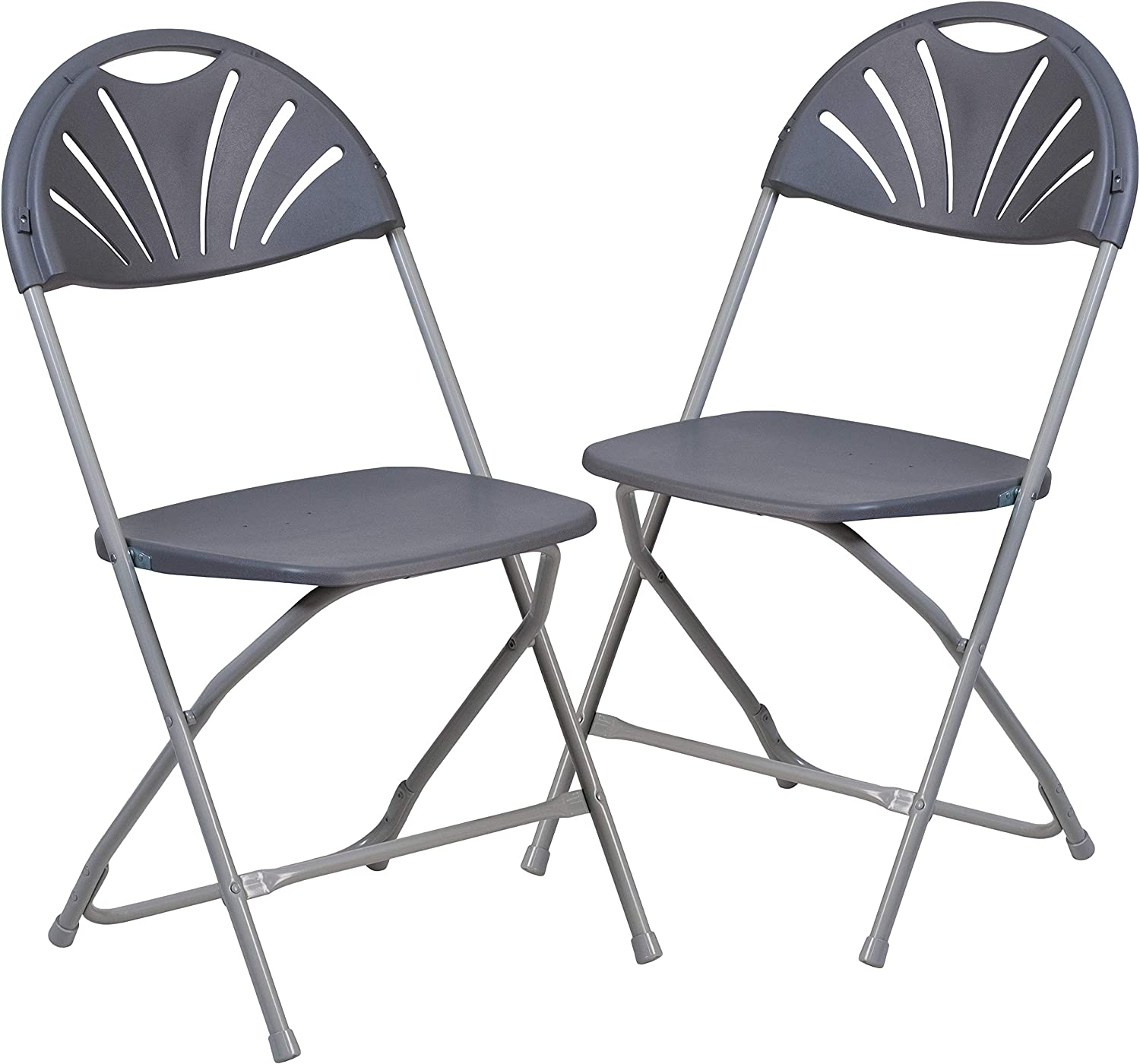Flash Furniture 2 Pk. HERCULES Series 650 lb. Capacity Charcoal Plastic Fan Back Folding Chair