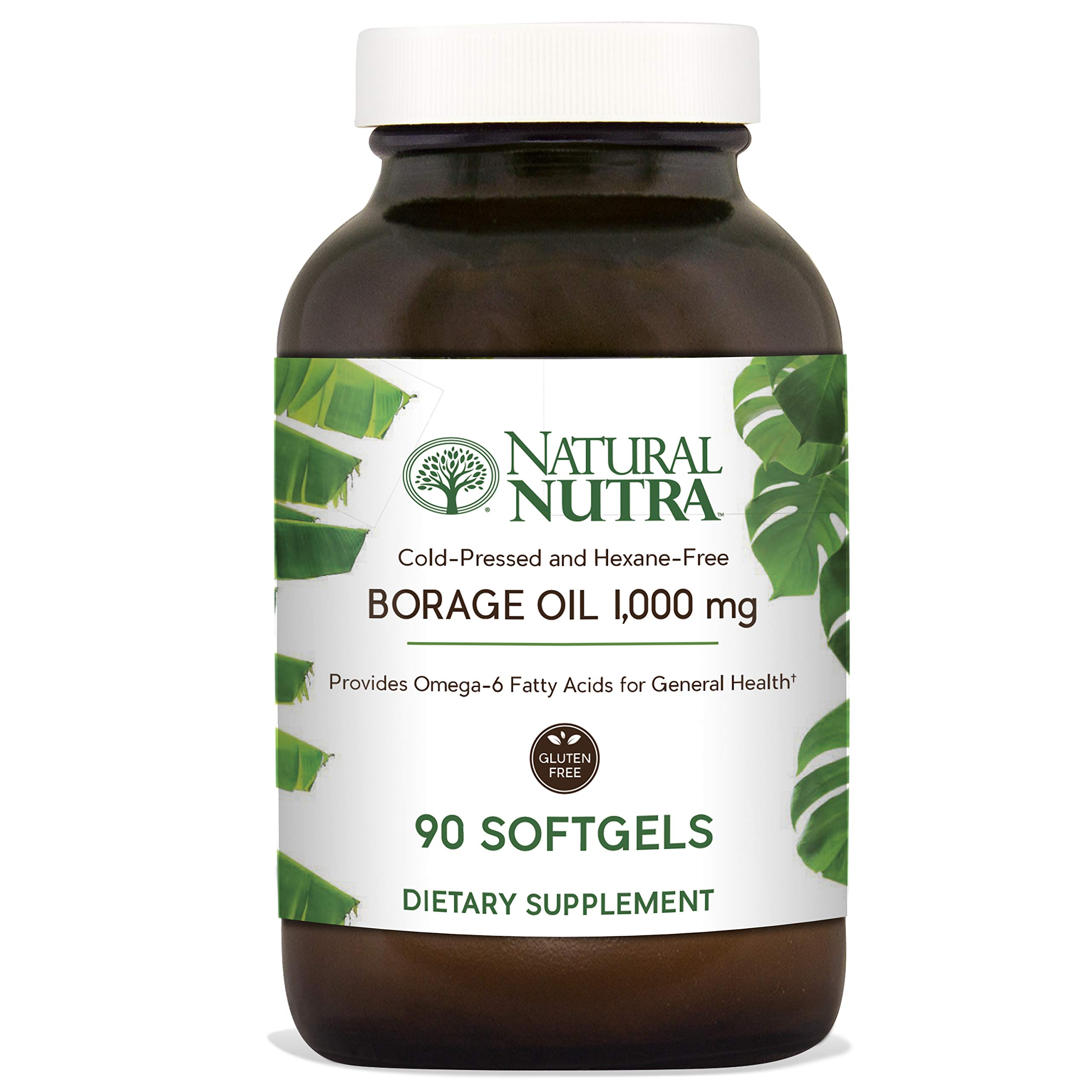 Natural Nutra Borage Oil, Omega 6 Essential Fatty Acids Supplement with GLA, Linoleic, Oleic and Palmitic Acid, Cold Pressed, Herbicide and Pesticide Free, 90 Softgels by Natural Nutra