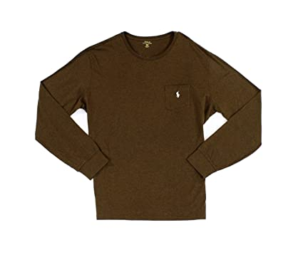 c1f005b9f126a RALPH LAUREN Polo Mens Classic Fit Crew Neck Pony Logo Long Sleeve Pocket  Tee