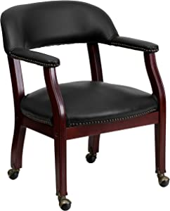 Flash Furniture Black Vinyl Luxurious Conference Chair with Accent Nail Trim and Casters
