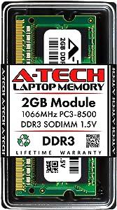 A-Tech 2GB DDR3 1066MHz PC3-8500 Laptop RAM SODIMM Module | 1.5V Non-ECC Unbuffered 204-Pin Memory Upgrade Stick