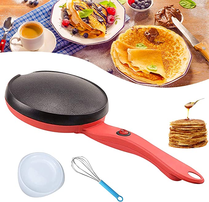 Vaughenda Portable Electric Griddle Crepe Maker, 110V 8 Inch Crepe Pan with Non-Stick Coating, Automatic Temperature Control Hot Plate Cooktop for Crepes, Blintzes, Pancakes, Tortillas