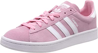 adidas Campus J Youth Suede Leather Trainer in Pink White