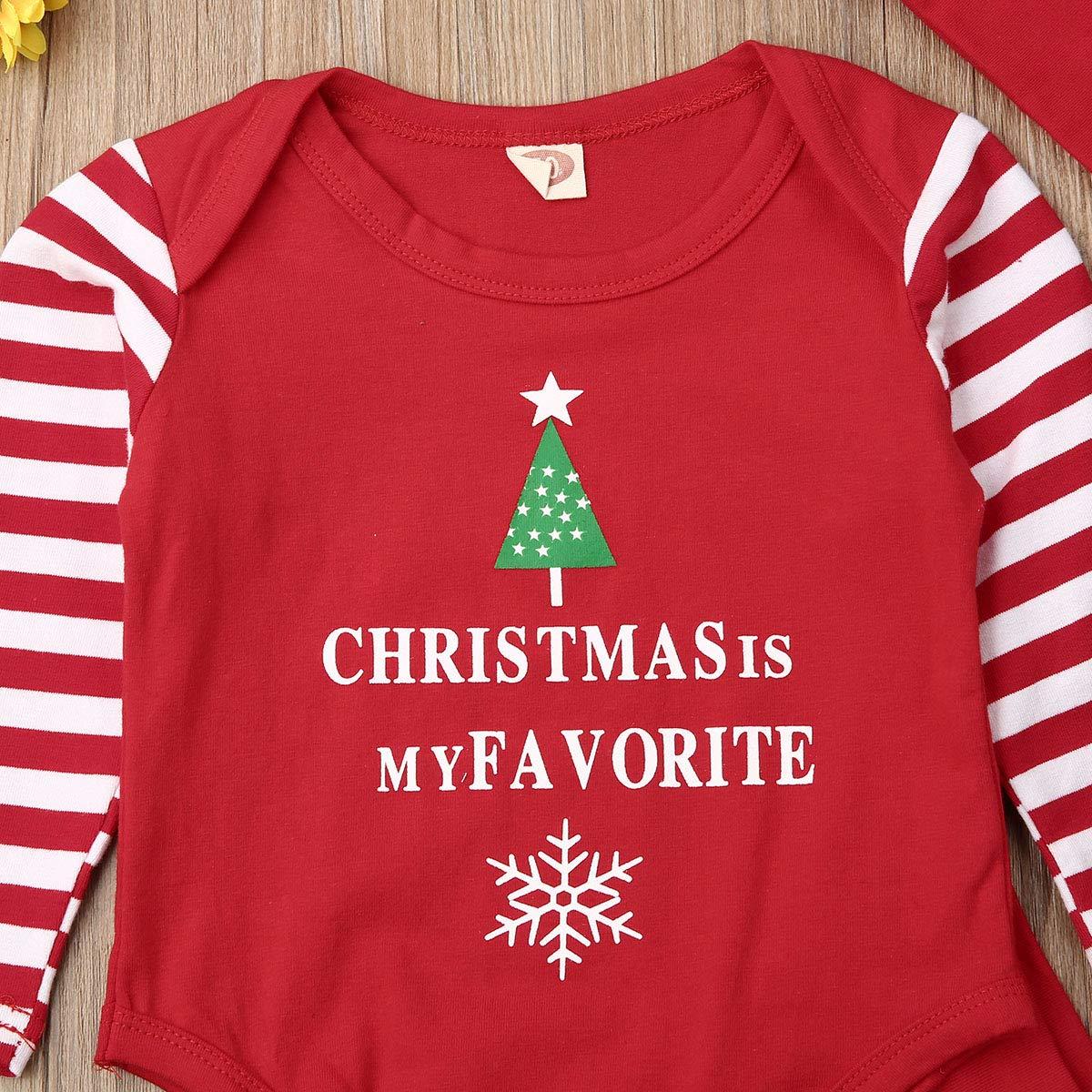 Carolilly 3 Pezzi Completini Neonato Natale Unisex Pagliaccetto Neonato Invernale Pantaloni+Cappello