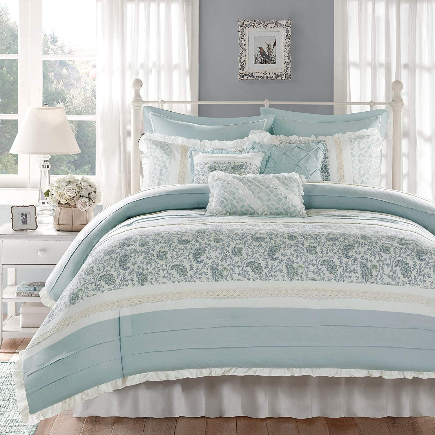 Madison Park Dawn Queen Size Bed Comforter Set Bed In A Bag - Aqua , Floral Shabby Chic – 9 Pieces Bedding Sets