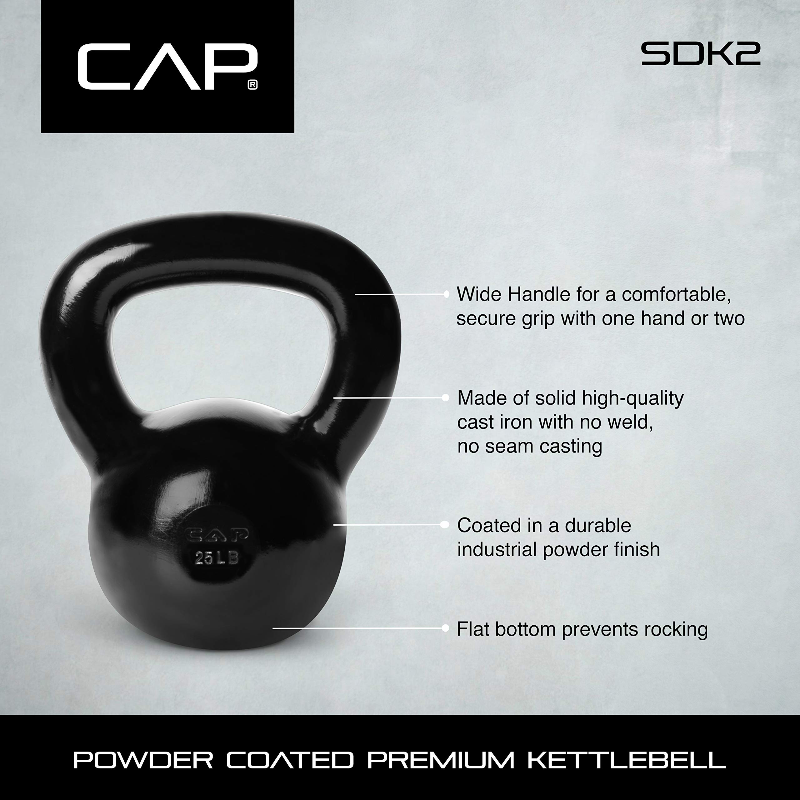 CAP Barbell SDK2-015 Enamel Coated Cast Iron Kettlebell, 15 lb, Black by CAP Barbell (Image #7)