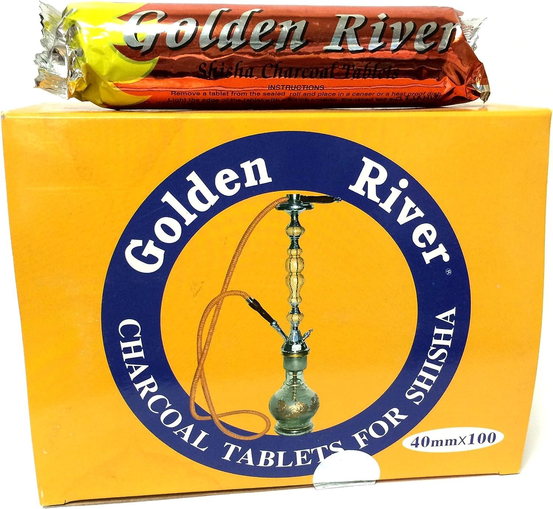 Golden River 4 paquetes de 10 rollos de carbón para shisha, 400 pastillas de 40 mm, autoencendido