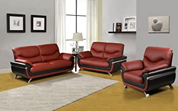 Beverly Furniture 3Piece Red Black Contempraray Faux Leather Living Room  Sofa Set
