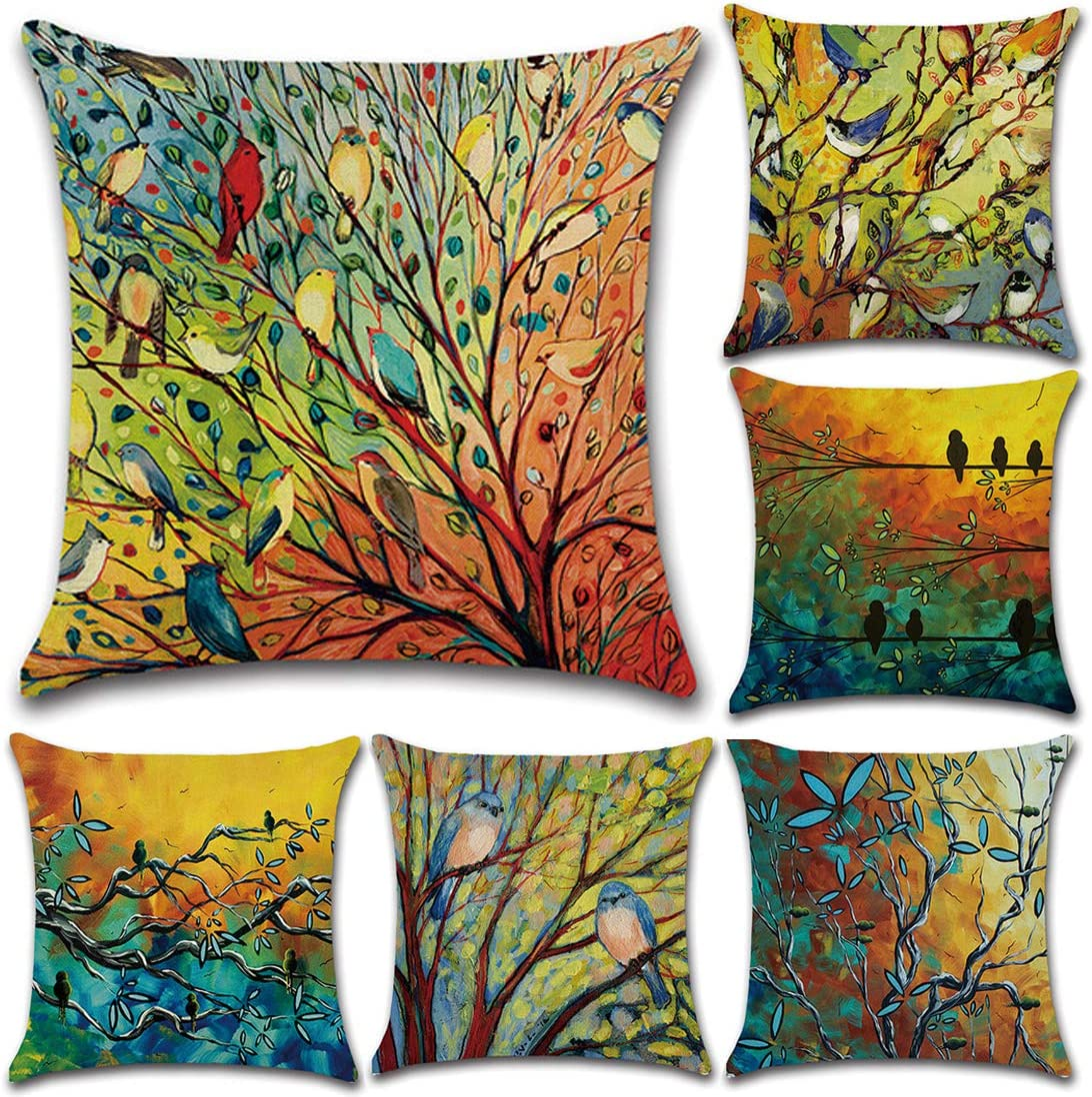 """Tosnail 6 Pack Decorative Throw Pillow Covers Cushion Cover for Indoor and Outdoor Decoration - 18"""" x 18"""""""