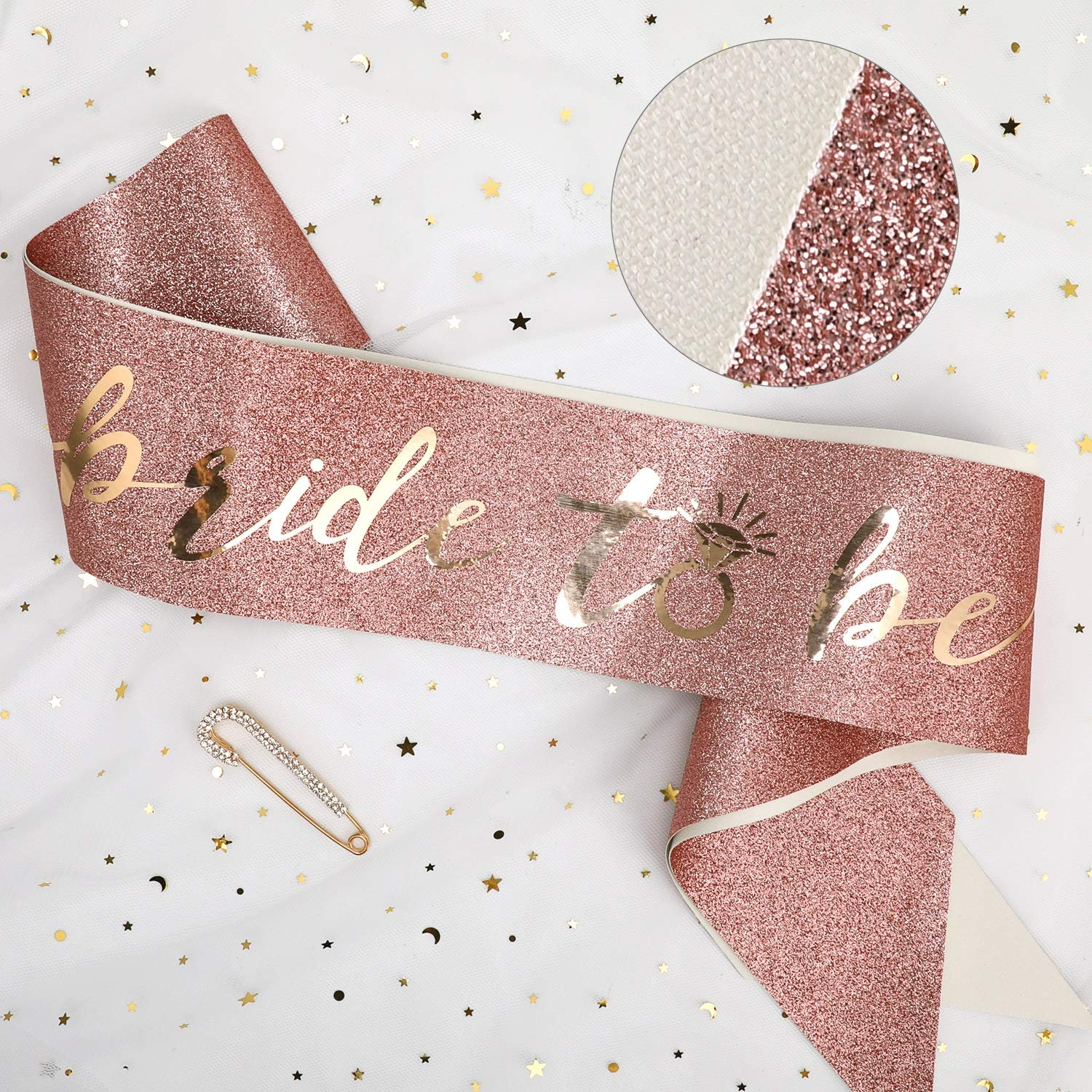 Konsait Glitter Pink Rose Gold Bride to Be Sash Hen Do Sash Hen Party Accessories Bride to Be Gift for Bachelorette Wedding Shower Hen Do Party Decoration Bridal