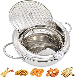 304 Stainless Steel Tempura Deep Fryer, with Thermometer & Oil Drip Rack Lid, Oil-Saving Fryer Small deep - Chicken Legs Dried Fish