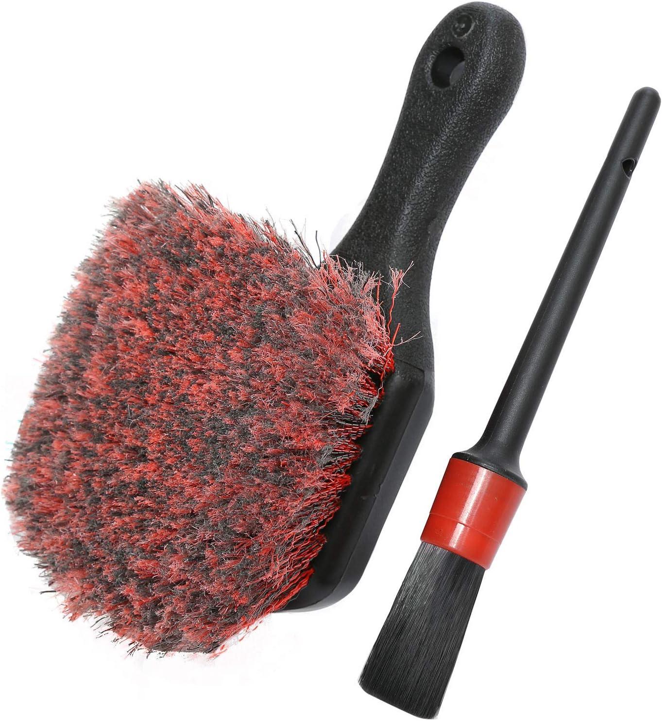 Wheel & Tire Brush, Soft Bristle Auto Wash Brush, Free Detailing Brush, Cleans Dirty Tires & Releases Dirt und Road Grime, Short Handle für Easy Scrubbing