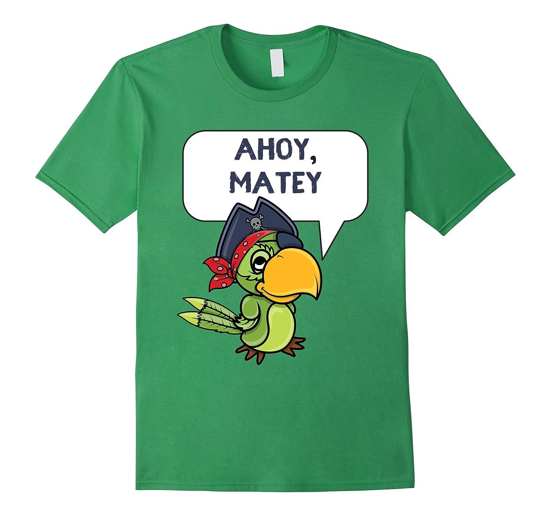 Ahoy, Matey Cute Pirate Parrot Cartoon T-Shirt-Art