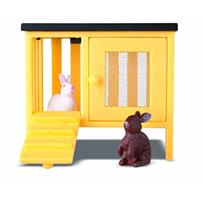 Lundby Smaland Dollhouse 2 Rabbits + Hutch Set: Toys & Games