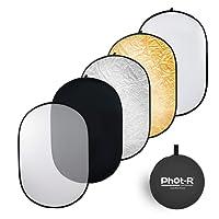 Phot-R P51-150200 Diffusore portatile pieghevole multi disco, ovale, da studio (nero, argento, bianco, oro, traslucido)