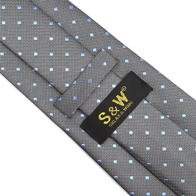 shlax/&wing Nuevo Dise/ño Puntos Corbatas Para Hombre Gris Azul Seda Para Hombre Traje de negocios Classic