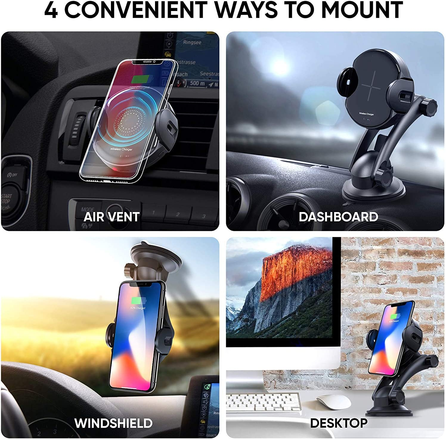 New Self-Adjusting Qi Charger /& Mount by Indigi for iPhone XR//XS//XS Max 360 Rotation Air Vent//Window Mounts Quick Charge