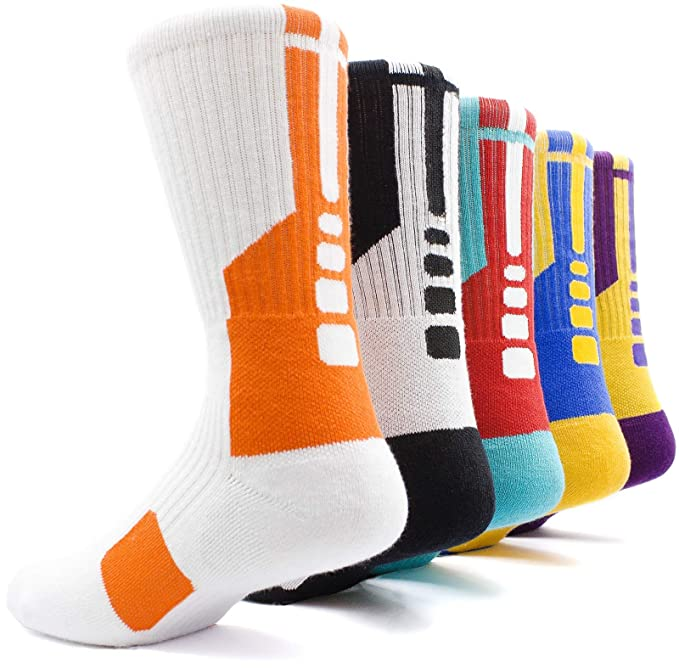 fb3309707672f JIYE Elite Basketball Socks 5 Pack Dri-Fit Athletic Crew Sport for ...