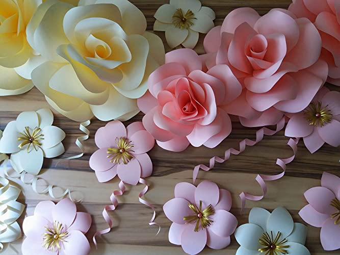 Paper Roses Paper Flower Set Large Paper Flowers Giant Paper Flowers