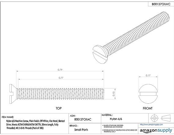 Off-White Pack of 100 Plain Finish Phillips Drive Oval Head Nylon 6//6 Machine Screw M6-1 Metric Coarse Threads 10mm Length