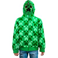 Minecraft Creeper Zip-Up Costume Hoodie with Full Face Mask for Youth Kids