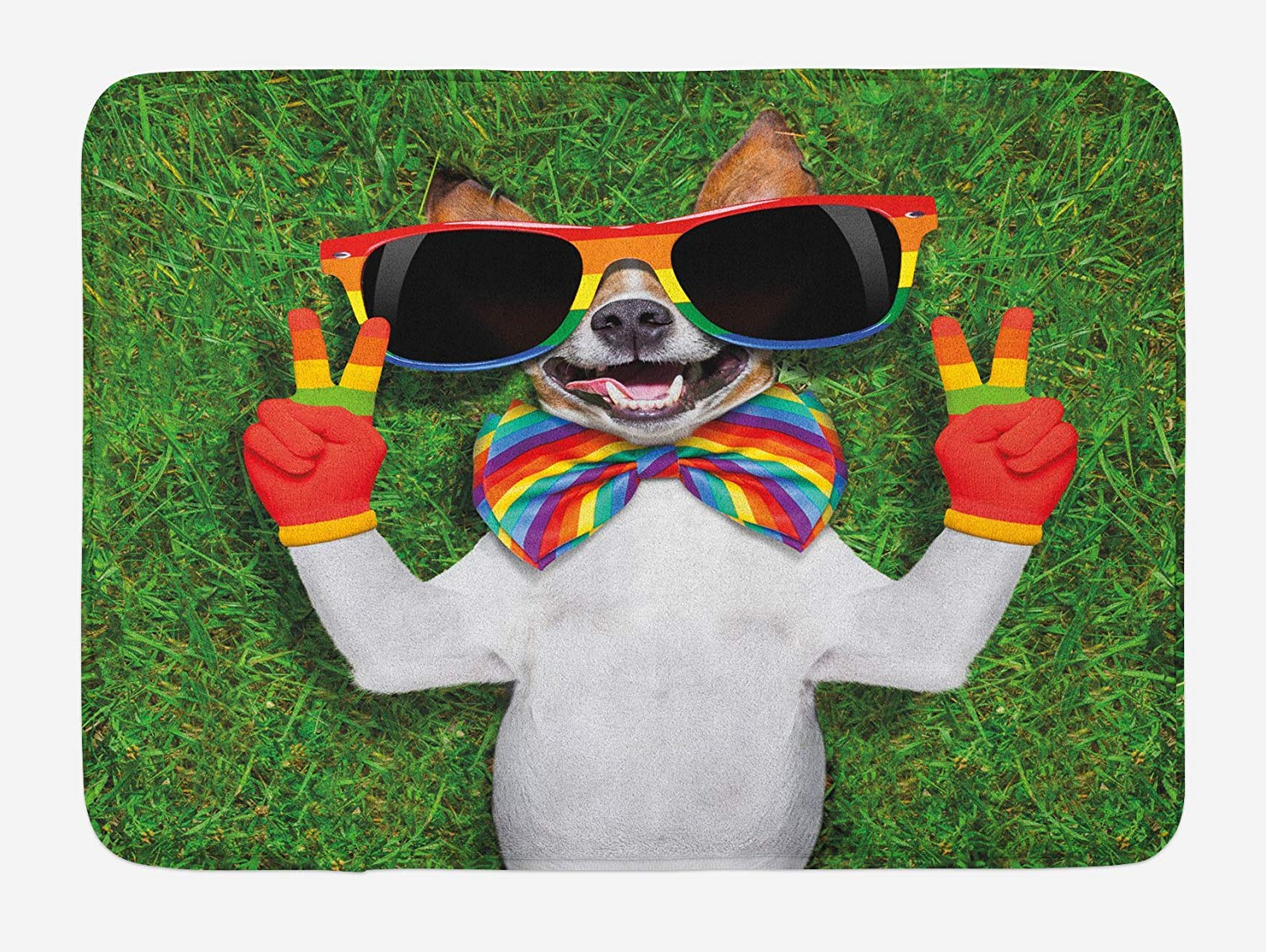 TAQATS Pride Bath Mat, Funny Face Gay Dog Lying on Green Grass with Peace Signs and Giant Sunglasses Humor, Plush Bathroom Decor Mat with Non Slip Backing, 23.6 W X 15.7 W Inches, Multicolor