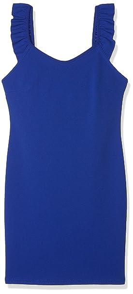 New Look Scuba Crepe Frill, Vestido para Niñas, Azul (Mid Blue 40)