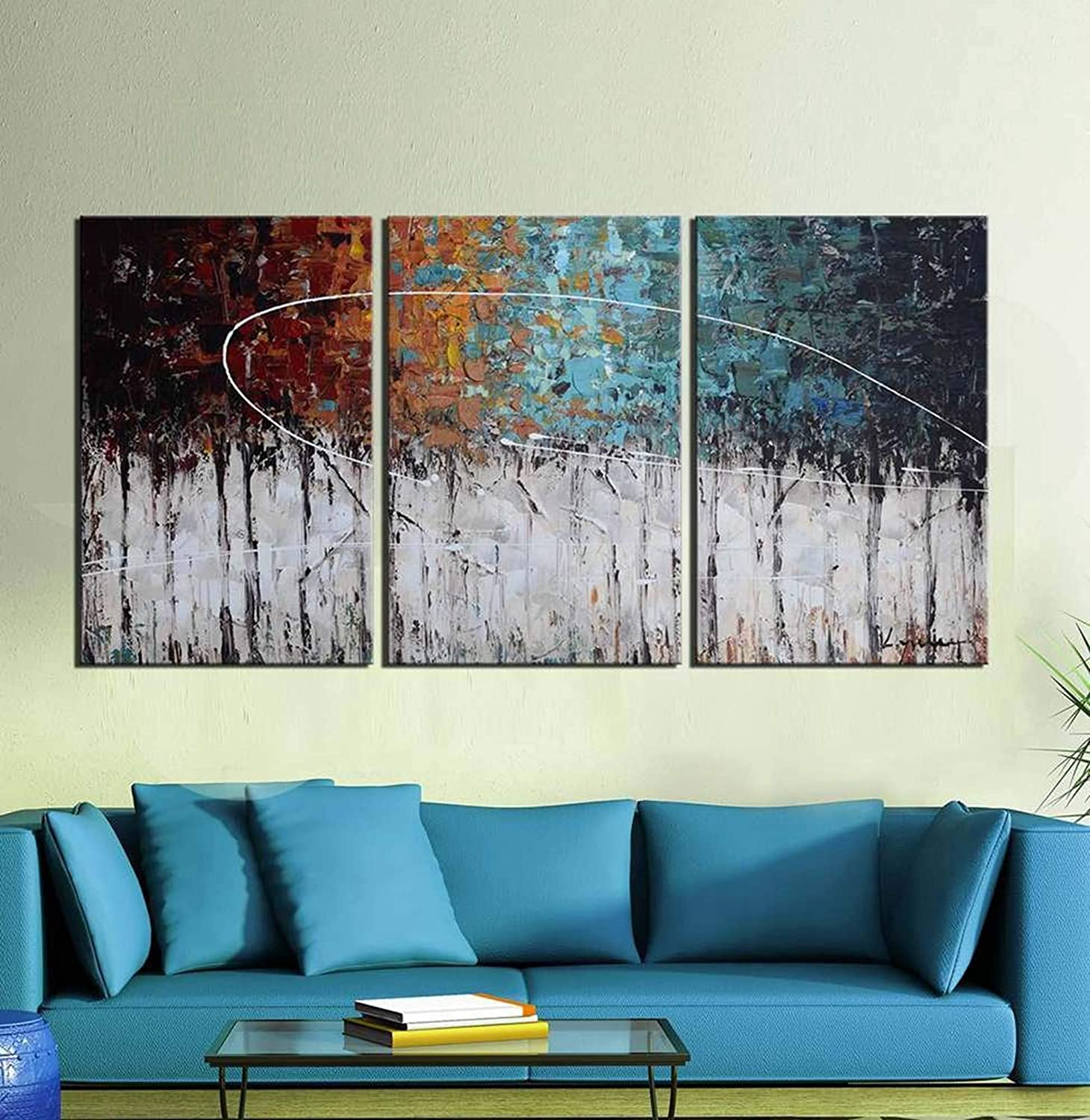 Amazon com artland hand painted color forest 3 piece gallery wrapped abstract oil painting on canvas wall art decor home decoration 36x72 inches paintings