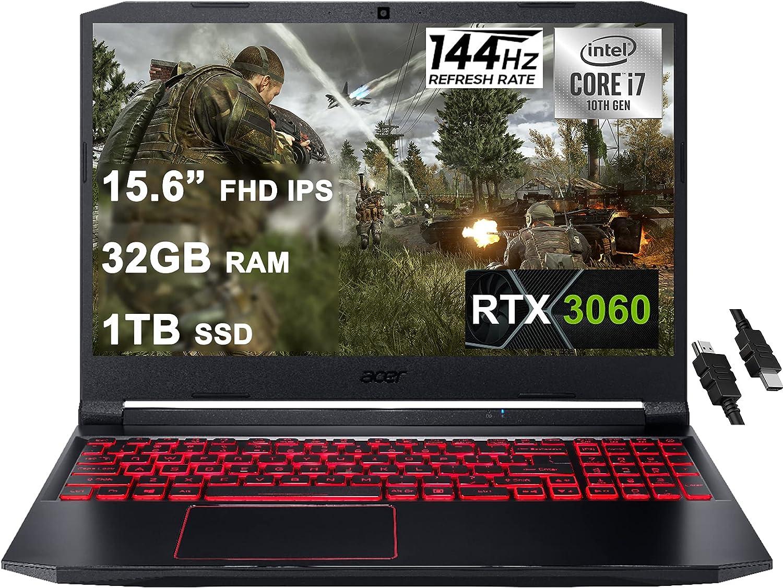 "Acer 2021 Flagship Nitro 5 Gaming Laptop 15.6"" FHD IPS 144Hz Display 10th Gen Intel 6-Core i7-10750H 32GB RAM 1TB SSD GeForce RTX 3060 6GB Backlit Wifi6 USB-C Win10 + iCarp HDMI Cable"