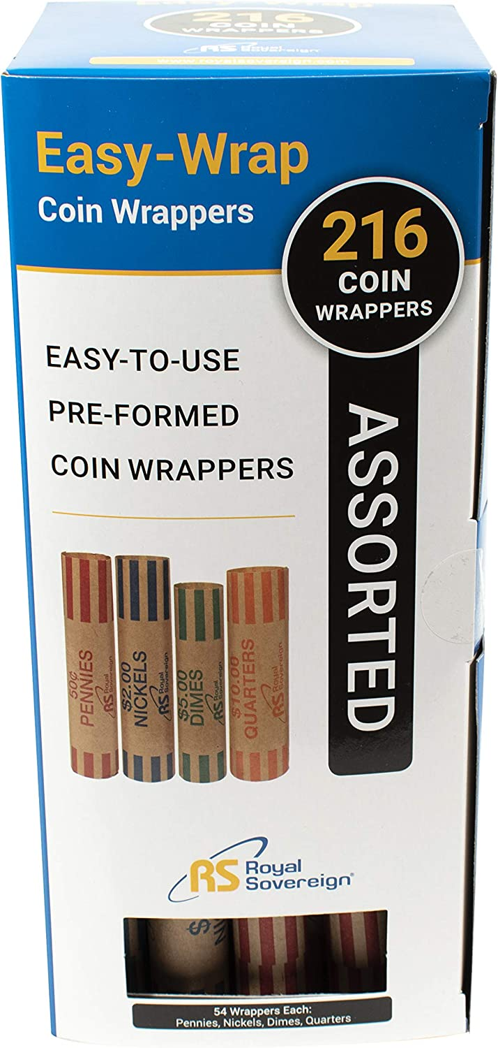 Single,Black /& Assorted Coin Preformed Wrappers FSW-216N 216 Count QS-1 Royal Sovereign 1 Row ECO-Friendly Manual Hand Crank Coin Sorter