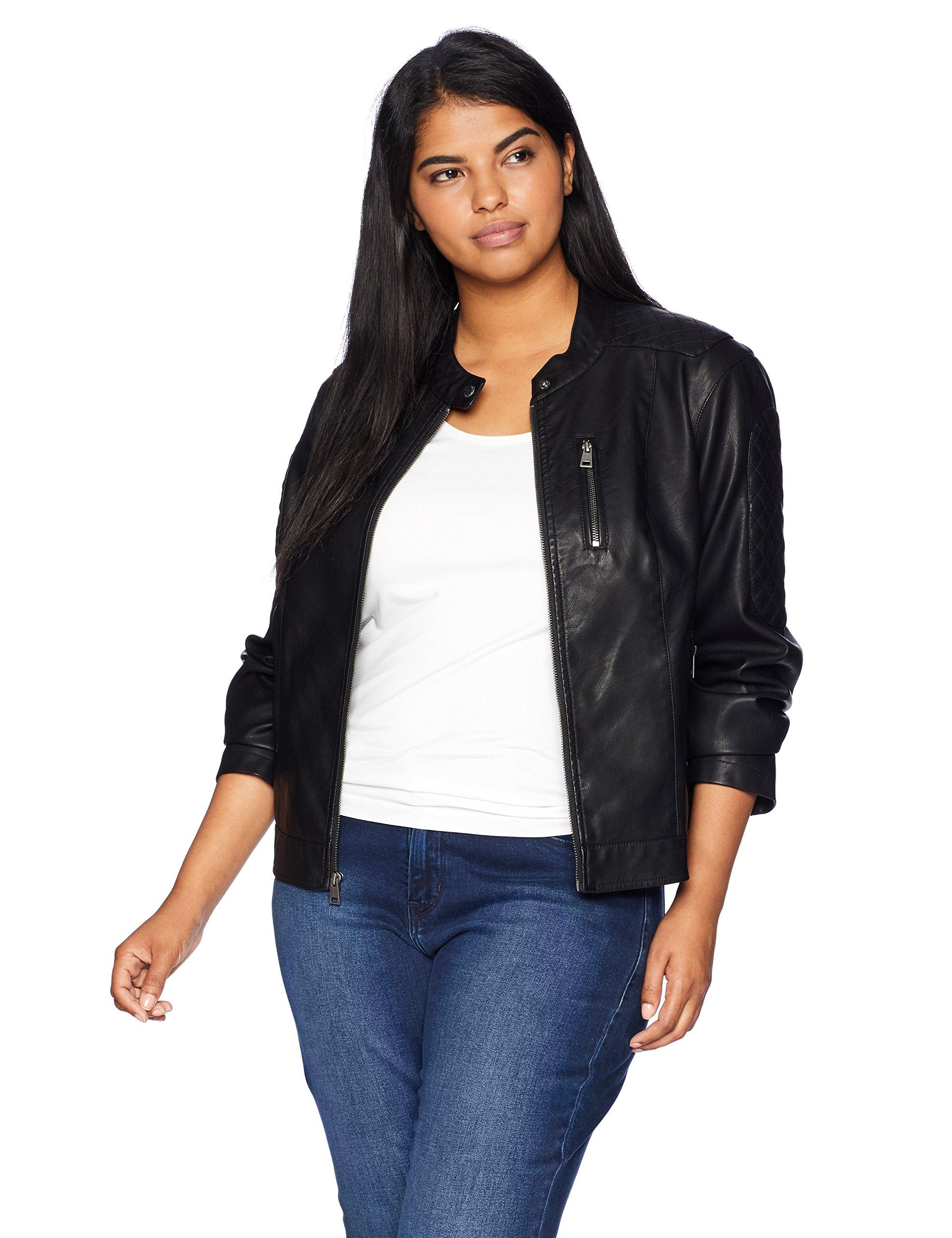 Levi's Size Women's Plus Faux Leather Fashion Quilted Racer Jacket, Black, 3X