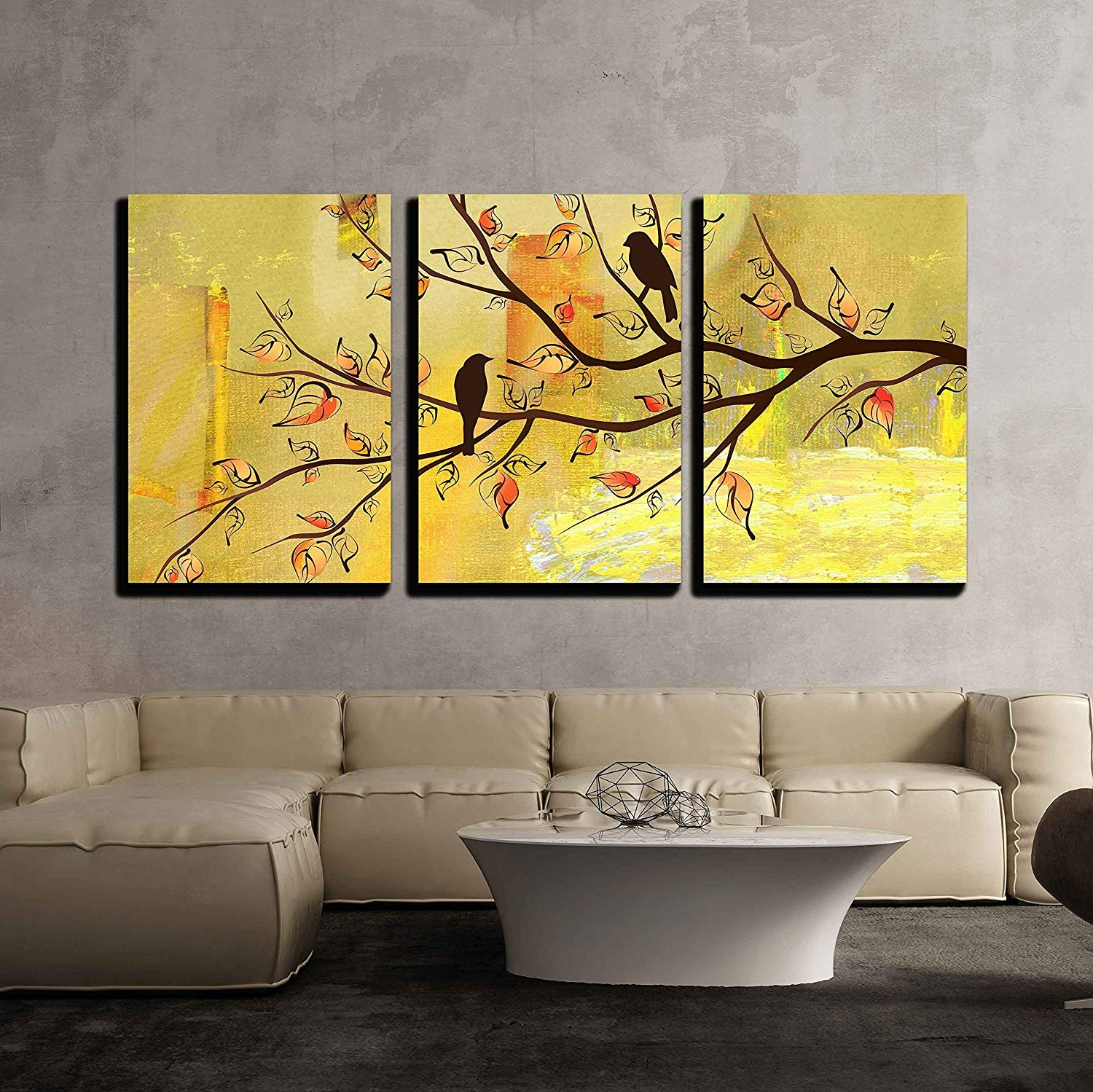 Two Birds on Tree Branches on Vintage Yellow Background x3 Panels ...