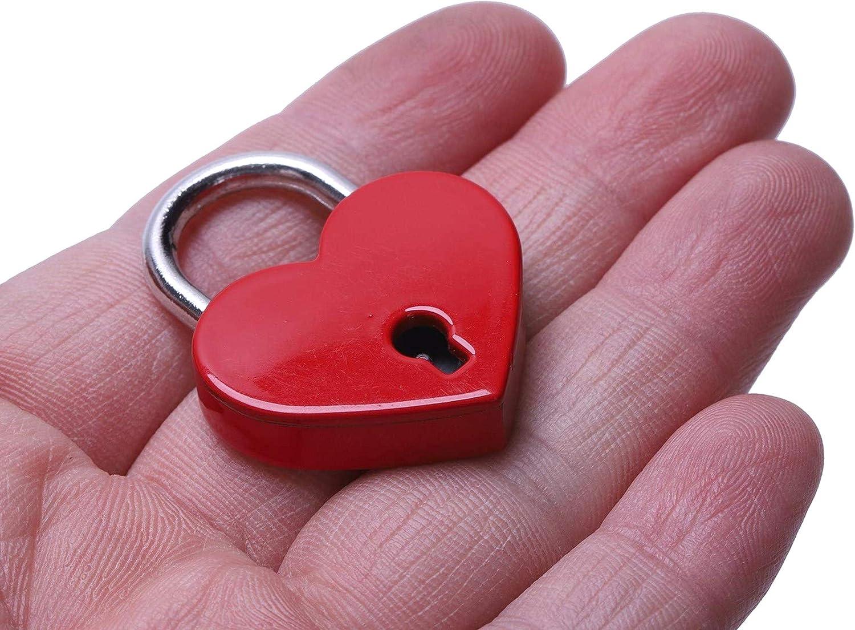 Dasket 2pcs coraz/ón Rojo en Forma de candado Cerradura con Llave para el joyero Caja de Almacenamiento Libro del Diario